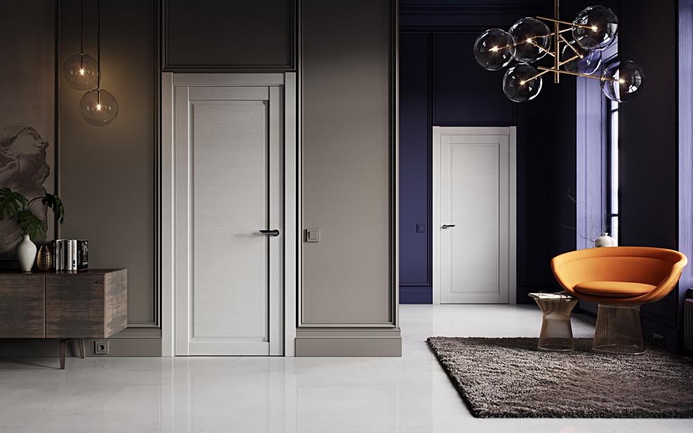 светлый пол и двери